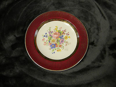 """Aristocrat by Salem China 23 K Gold Maroon Red Floral Bread Plate 6 1/4"""""""