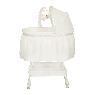 NEW Baby Bassinet with Mattress Convertible to Rocking Bassinet White