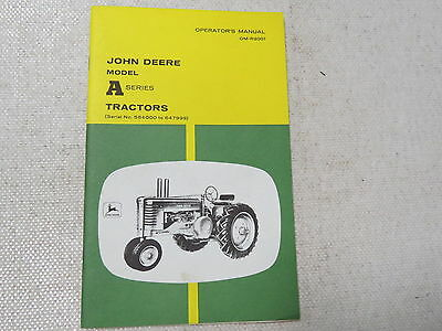 original John Deere A AN AW Styled Tractor Operator's Manual Two Cylinder