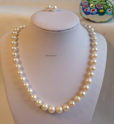 Silver genuine 9-10mm circle white freshwater pearls necklace+earring set