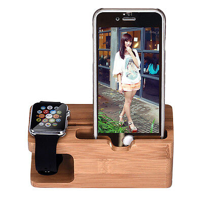 Bamboo Wood Charging Station Charger Dock Stand Holder For Apple Watch Phone DE