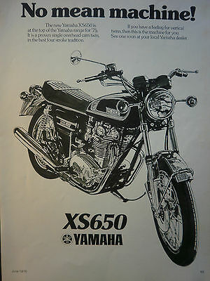 "YAMAHA XS650 # ORIGINAL 1970,S VINTAGE MOTORCYCLE ADVERT # 10""x 8"""