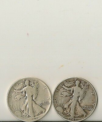 (2) Walking Liberty US Half Dollar 90% Silver Coins $1 Face Value .715 Troy Oz