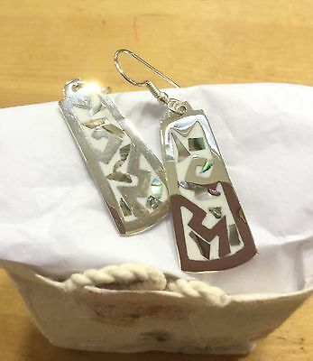 Earrings Mexico Hand Crafted, Alpaca silver Mother of Pearl Inlay White colour