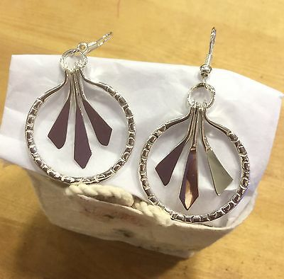 MEXICAN EARRINGS Sterling Silver Plated Alpaca Hammered Hand Crafted Fair Trade