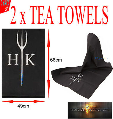 2x Large Hells Kitchen Tea Towel Embroidered Black with HK Logo Brand New