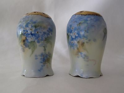 Antique Fine China Salt/ Pepper Shakers Hand Painted For-get-me- nots gold tops
