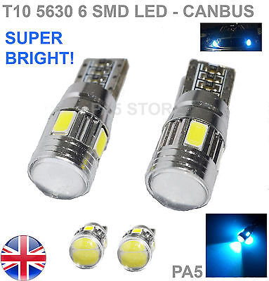2x T10 6-SMD 5630 LED 501 W5W CANBUS XENON WHITE SIDE REVERSE LIGHTS BULBS 8000K