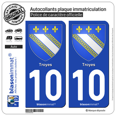 2 Stickers plaque immatriculation auto | 10 Troyes - Armoiries | 10000