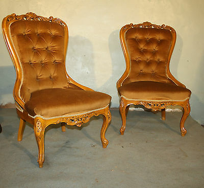 Good pair Vintage rococo Italian bedroom salon upholstered Italian chairs 1930s • £285.00