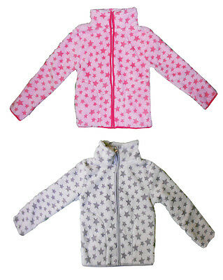 Bnwot Girls Star Pattern Fleece Jacket In Pink Or Grey Ages 3 To 7 Years