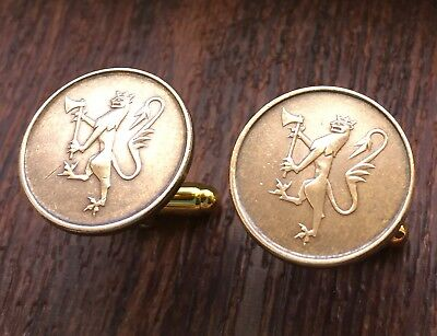 Norway Crowned Lion w/ Axe Unique Vintage Bronze Norwegian Coin Cufflinks + Box!