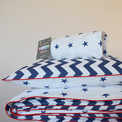 100% COTTON Cot Bed Duvet Cover Set & Fitted Sheet  Stars Chevron Navy Blue