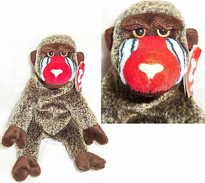CHEEKS the MANDRILL BABOON Beanie Baby Monkey 1999 Silver Tag Collection HANGTAG