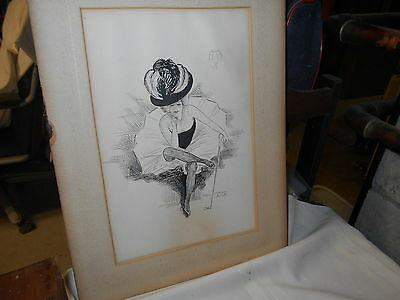 Very Old Ink Drawing Of Lady Dancer Signed By Artist 1900