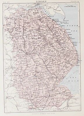OLD ANTIQUE MAP LINCOLNSHIRE by W & A K JOHNSTON PRINTED COLOUR c1880's