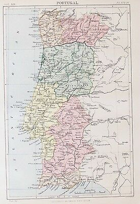 OLD ANTIQUE MAP PORTUGAL by W & A K JOHNSTON PRINTED COLOUR c1880's