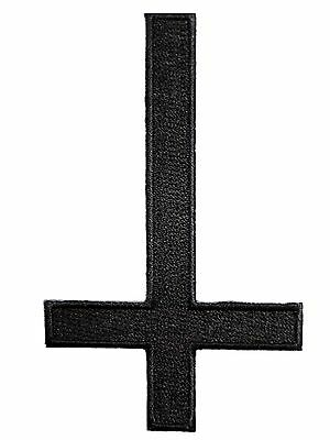 Inverted Black Cross Metal Goth 666 Embroider Iron On Shirt Jacket Badge Patch