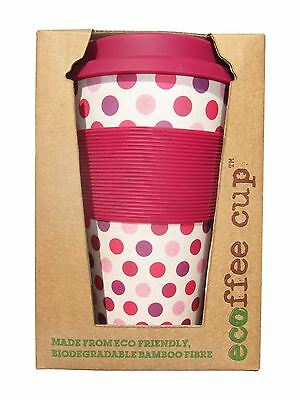 Ecoffee Cup Pink Polka Reusable Coffee Cup 400ml