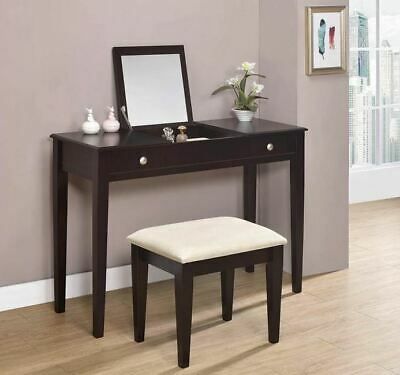 Cappuccino Finish Flip Top Vanity Table & Stool Set by Coaster 300080