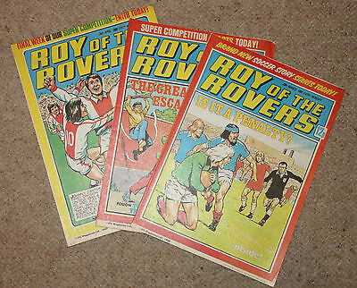 ROY OF THE ROVERS COMICS x 3  -1980  - (G2965)