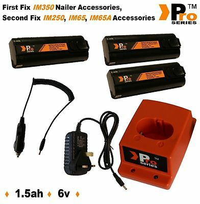 3xBatteries for Paslode nailer.Wall Charger,Charger Base.In Car Charger for pasl