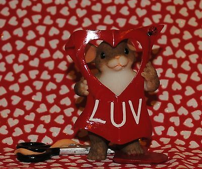 """2006 Charming Tails """"cut Out For Luv'in You""""  Valentine's Day Mouse Heart New"""