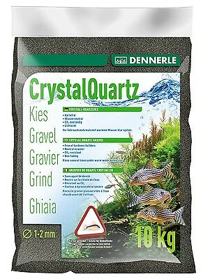 Dennerle Crystal Quartz Gravel Diamond Black 10 kg Inert for Aquarium Fish Tank