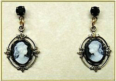 24k Gold Plated Vintage Look Black Jet Crystal Cameo Post Earrings w/ Box
