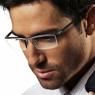 Mens Metal TR90 Frame Glasses Rectangle Semi Rimless Clear Lens Glasses