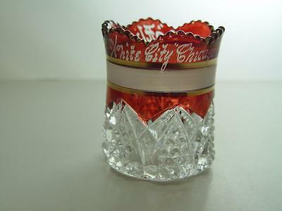Ruby Red Flash Glass Toothpick Holder White City Chicago 1905