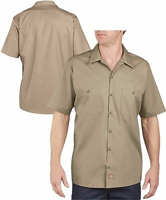 Dickies Work Shirts Men Short Sleeve LS535 Khaki Size Large