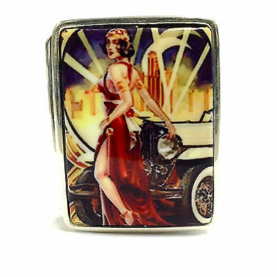 Enamel Art Deco Style Lady With Cadillac Pill Box Fine Solid Silver Hallmarked