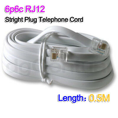 White 0.5M 6P6C PRO ADSL Telephone Cord Cable RJ11 / RJ12 Made in Australia