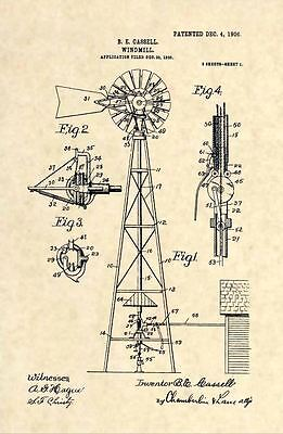 Official Windmill US Patent Art Print -1906 Vintage Antique Country Farmer 182