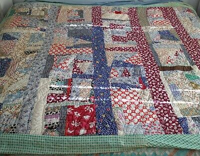 "Old Antique Vintage Era Crazy Quilt lovely Old Shabby Faded Spots 57"" x 86"""