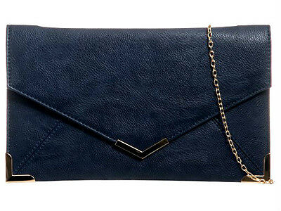 New Navy Blue Faux Leather Evening Day Clutch Bag Prom Wedding Party Shoulder