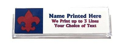 Fleur de Lis Red Blue Custom Name Tag Badge ID Pin Magnet for Webelos Cub Scouts