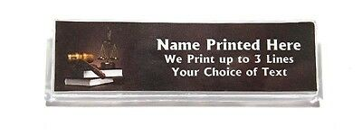 Legal Gavel Books Brown Custom Name Tag Badge ID Pin Magnet for Lawyer Paralegal