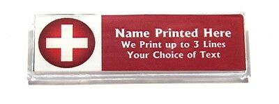 Red Cross Custom Name Tag Badge ID Pin Magnet for Nurse Medic First Aid Hospital