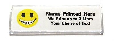 Smiley with Braces Custom Name Tag Badge ID Pin Magnet for Orthodontist Staff