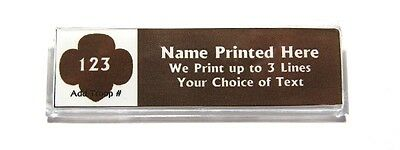 Trefoil Brown Custom Name Tag Badge ID Pin Magnet for Girl Scouts Brownie Leader
