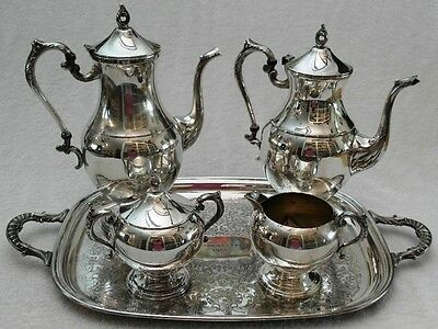 Gorgeous Full 6 pcTea Coffee Serving Set w Large Tray Vintage FINA Silver Plate
