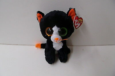 """TY NEW 2015 Beanie Boo 6"""" Black And White Halloween Cat FRIGHTS(41121)"""