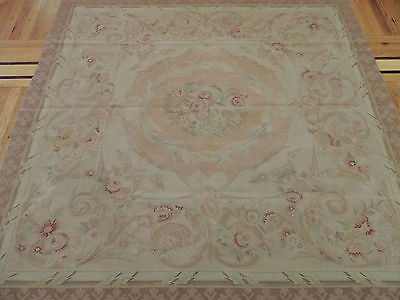 Lovely French Aubusson Style Square area Rug 6x6 Beige