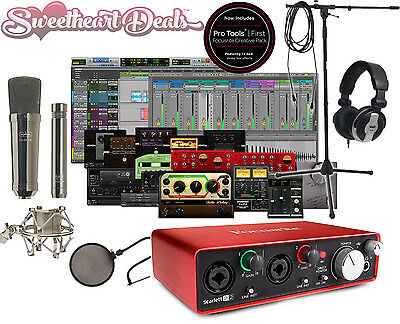 New Home Recording Studio Package Bundle Two Mics Midi Tascam Cad