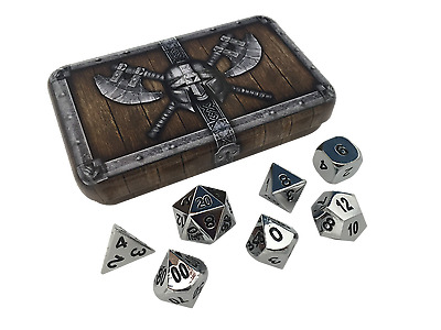 Silver Chrome Color- Solid Metal Polyhedral Role Playing Game (RPG) Dice Set