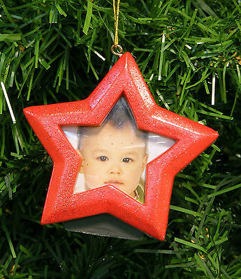 Red Glittered Star Magnetic Picture Frame Christmas Tree Ornament