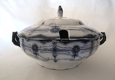 FLOW BLUE - WEDGWOOD  Large Pedestal Covered Soup Tureen Domed Lid with Handle