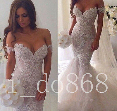 Luxury Elegant Wedding Dress Mermaid Sweetheart Bridal Gown Size 2 4 6 8 10 12+